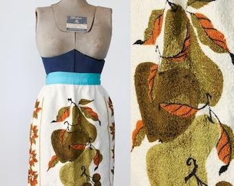 Vintage Half Apron / Handmade Kitchen Apron / Terry Cloth / Mid Century Kitchen
