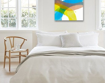 "Minimal Abstract Landscape Painting, Original Art, yellow, pink/beige, blue, green 25 x 25"" -- ""Sunlit Hillside I"" modern expressive canvas"
