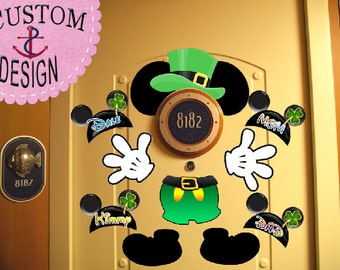 SALE! St Pattys Day! Mickey Body Personalized Disney Cruise Door Magnets - Leprechaun - Disney Cruise Door Decorations and Clip Art