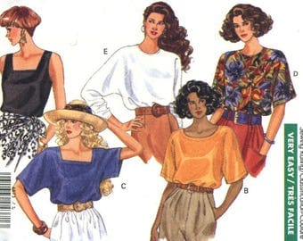 Ladies' Pullover Blouses - Butterick 4873 - Very Easy Sewing Pattern, Sizes 16-18 and 20-22