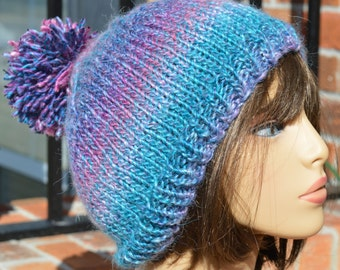 Knit Hat with Pom Pom - Knit Beanie with Pom Pom Berry