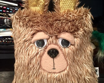 Sleepy Heads Bear plushie. Decorative pillow. Brown faux fur with gold ears