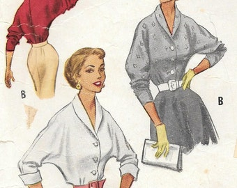 McCalls 9179 1950s Dolman Sleeve Blouse Vintage Sewing Pattern Size 12 Three Quarter Sleeve