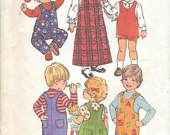 Simplicity 5382 UNCUT 1970s Toddlers Jumper and Jumpsuit Vintage Sewing Pattern Size 2 Breast 21