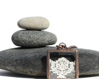 Soldered Lace Pendant Necklace, Stained Glass Lace Necklace, Copper, Ivory Lace, Lotus Flower