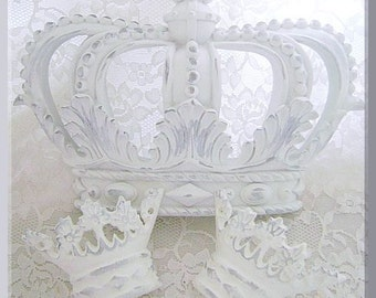 Distressed White Shabby Chic Fleur de Lis Bed Crown Canopy Set/Paint & Finish Options/Baby Shower/Party/Event Dessert/Sweet Table Decor