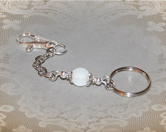 """Elegant Keychain in """"Frosted Opal"""" or """"Black Diamond"""""""