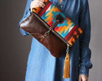 Wool and leather bag, Large Leather foldover clutch, fold over bag, fold over purse, wool fabric and brown leather clutch,  leather tassel