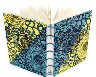Blue and Yellow Flower Journal - handmade by Ruth Bleakley