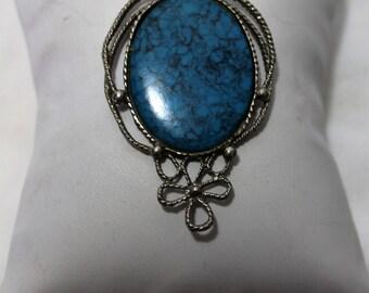 Large Vintage Faux Turquoise Pendant