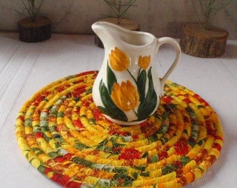 Yellow Red and Green Hot Pad, Trivet, Table Mat - Small Round - Handmade by Me