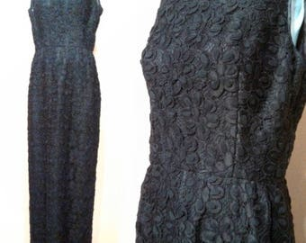 Stunning late 50s Black Lace Dress / Vintage Lace Dress / Little Black Dress / Glamorous Party Dress