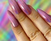 Plain Pink Holo Press On Nails- Choose Coffin, Stiletto, Square, Oval Nails- Single Color Nails, Short or Long Nails