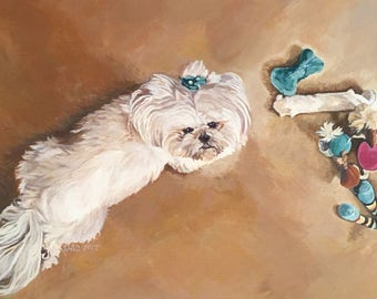 "5 x 7 dog painting Greeting Card ""She who has the most toys win!"""