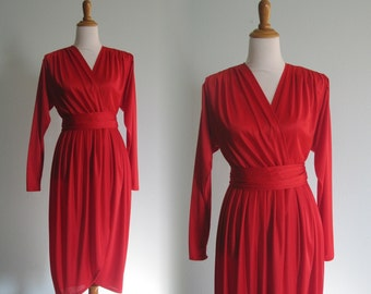 Sexy 80s Red Jersey Wrap Dress by Pat Richards - Vintage Cherry Red Cocktail Dress - Vintage 1980s Dress S M
