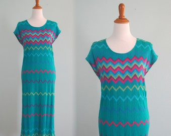 Chic 80s Teal Zig Zag Dress in a Light Rayon Knit - Vintage Chevron Knit Dress - Vintage 1980s Dress S