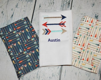 Tribal Arrow Burp Cloth set of 3 - Personalized Option available