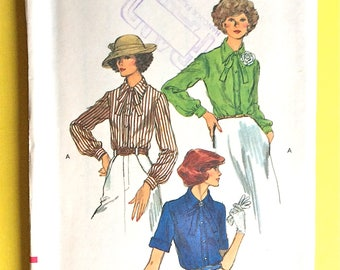 Uncut Vogue 9440 Classic front button band blouses pointed collars, button cuffs  neck ties 1970s Vintage Sewing Pattern  Bust 36 inches