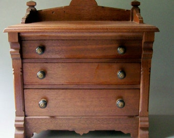 Antique Miniature Chest of Drawers /  Miniature Wooden Dresser