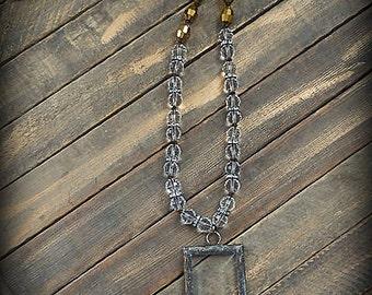 ORIGINAL Soldered Filigree Glass Bevel©  Beaded Necklace