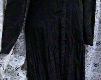 Size 9 DUBLIN early 1900s style dress vintage 1980s 80s lace collar dress by GUNNE SAX Evergreen Pine Green Dress, cream white collar dress