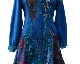 Peacock long sweater COAT,  eco Fantasy fashion in size Large/XLarge, Boho refashioned up cycled outerwear. Ready to ship