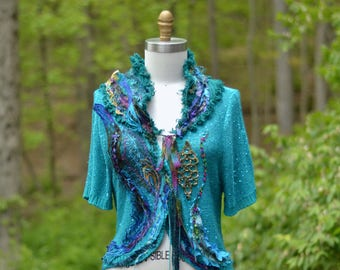 Embellished turquoise  SWEATER/Blouse,  OOAK refashioned Fantasy art to wear, boho shabby chic, peacock blue altered couture. Size Large/ XL