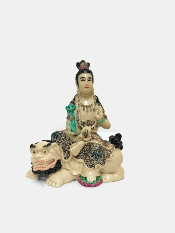 Small Kwan Yin on Foo Dog Statue - Vintage