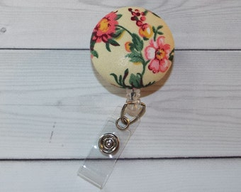 Floral Retractable ID Badge Holder Reel  - Fabric Button - flower id reel - tiny flowers reel - badge holder - id holder