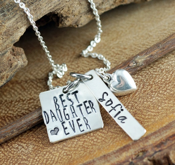 Best Daughter Ever Necklace, Daughter Charm Necklace, Personalized Necklace, Name Necklace, Gift for Daughter, Gift for Mom, Silver Heart