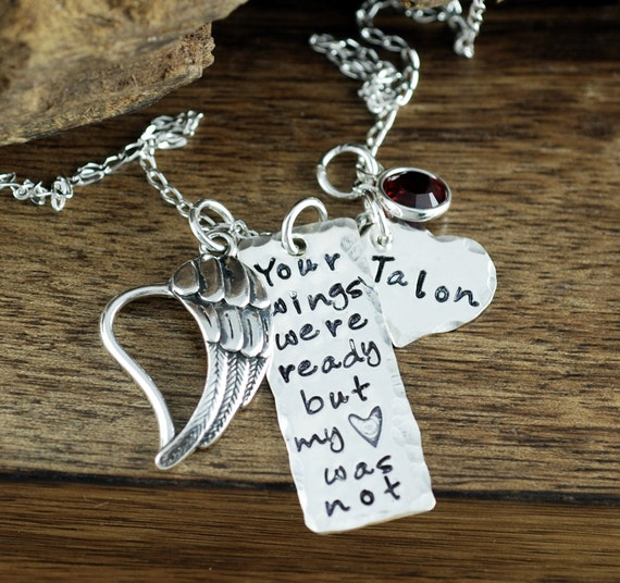 Your wings were ready but my heart was not Necklace | Personalized Necklace | Memorial Keepsake Necklace | In Memory Of | Bar Necklace