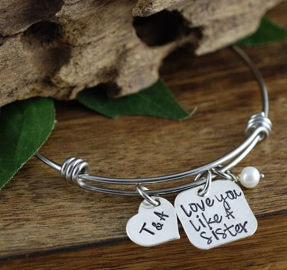 Love you Like A Sister Bracelet, Sister Jewelry, Best Friend Bracelet, Gift for BFF, Personalized Best Friend Bracelet, Initial Bracelet