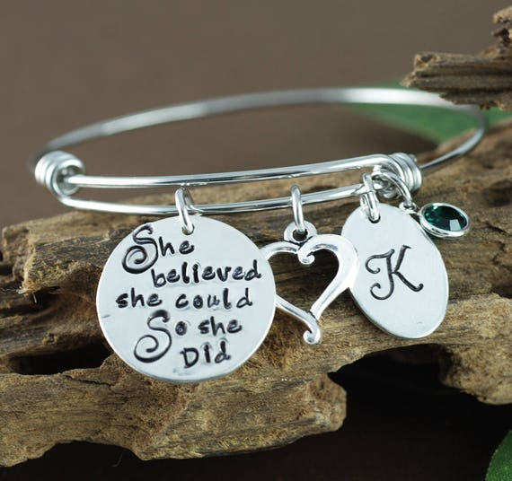 She Believed She Could So She Did, Bangle Bracelet, Graduation Gift, Inspirational Bangle Bracelet, Hand Stamped Bracelet, Gift for Graduate
