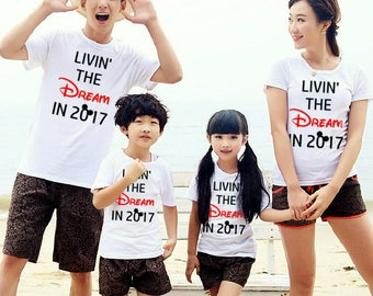4 Shirts disney family shirts Livin' the DREAM in 2017 ™ Mommy and Me mickey vacation Matching Shirts Outfit ladies mens child FREE SHIPPING