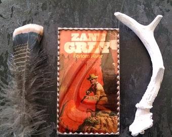 Zane Grey Vintage Book Cover Art Leaded Glass Frame Book Decor
