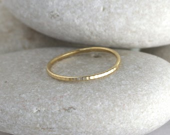 Skinny 14Kt gold ring in yellow or rose gold, hammered stacking ring, midi ring