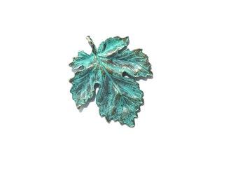 42MM  Antique Brass Leaf Pendant ,  Maple Leaf Pendant , Verdigris Patina Finish , 1 Pc