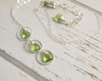 Necklace with Peridot Teardrops and Sterling Silver Loops CDN-676