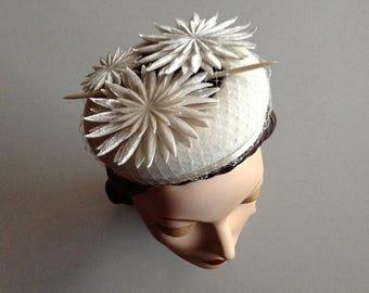Ivory Cream Wedding Halo Hat with Embossed Silk Velvet Flowers