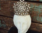 Antique Style Jeweled Crown Shabby Chic for Angel Statue Santos Ornament Distressed Metal with Clear Rhinestones Medallion Pearls Baroque
