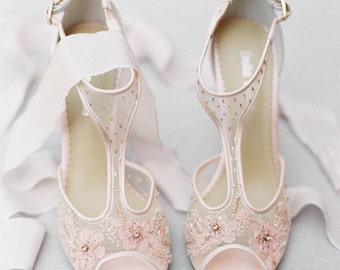 Blush Nude Pink Illusion T Strap Beaded And Flower Embellished Wedding Shoes Bridal Heels Bella Belle