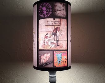 Punk Rock Lamp Shade Lampshade - lighting, gift for him, contemporary,rock n roll decor,punk rock decor,gift for a musician, teen room decor