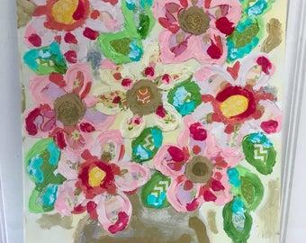 SAMPLE SALE - Happy Flowers Original Painting - Bronwyn Hanahan Art