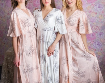 Blush Dress Robes in Floral Sketch Pattern in Premium Rayon