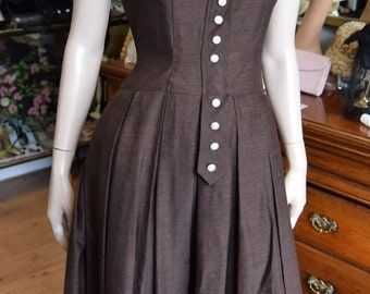 "RESERVED FOR FRANZI 1950's Brown Dress with lovely neckline 38"" bust 29"" waist"