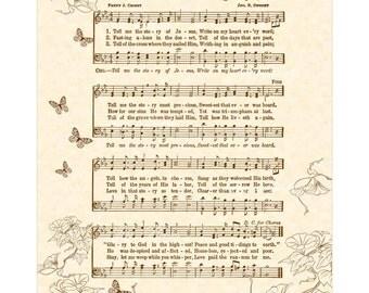 TELL ME The Story Of JESUS - Hymn Art - Custom Christian Home Decor - VintageVerses Sheet Music - Inspirational Wall Art - Sepia Brown