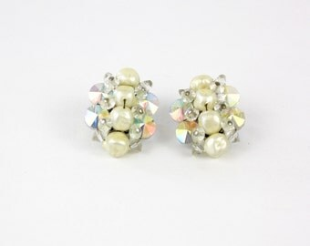 Vintage 50s Bead earrings White Pearl Beads w AB Crystals Hand-Wired Earrings Clip on Backs