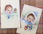 Vintage Disney Themed Print Set : Adorable Infant in High Chair w Seven Dwarfs