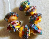 Rustic organic bead set of 7 raku purples and saffron yellow pinks, ooak tribal beads, prayer beads, ethnic jewelry, ancient beads, paulbead