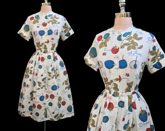 Vintage 1950s Fruit Novelty Print French Belted Cotton Full Skirt Day Dress L NOS